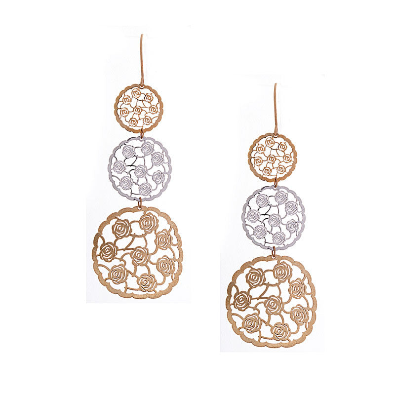 Italian gold yellow and white gold three disc rose drop earrings