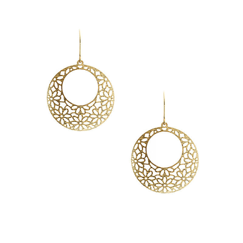 Italian gold yellow gold flower hoop earrings