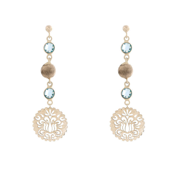 Italian gold blue topaz and floral disc drop earrings