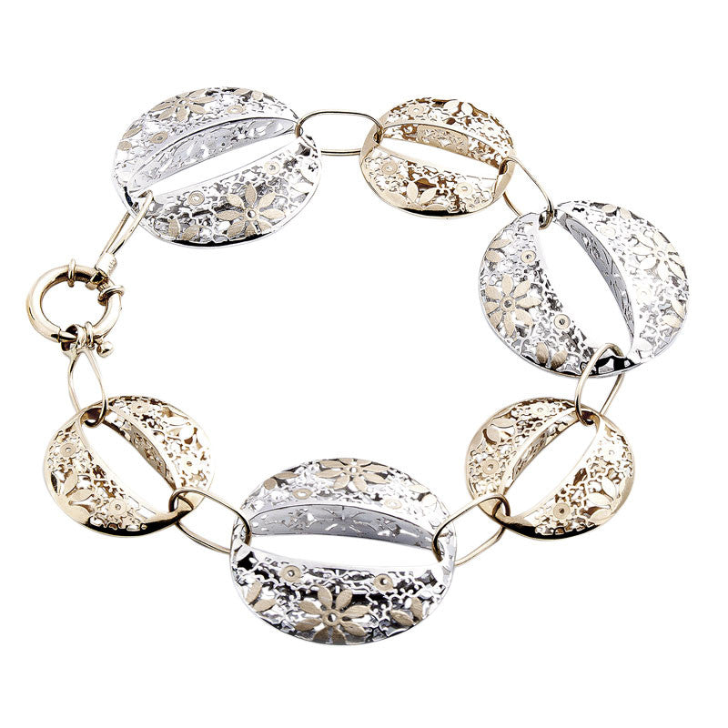 14 Karat Two-Tone Gold Round Floral Design Linked Bracelet