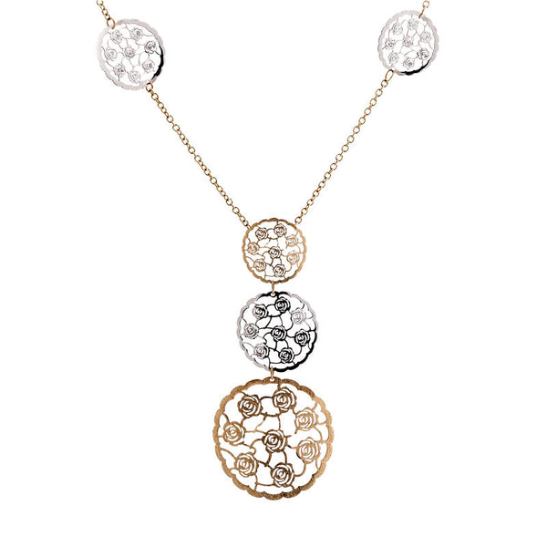 Italian gold rose design disc necklace