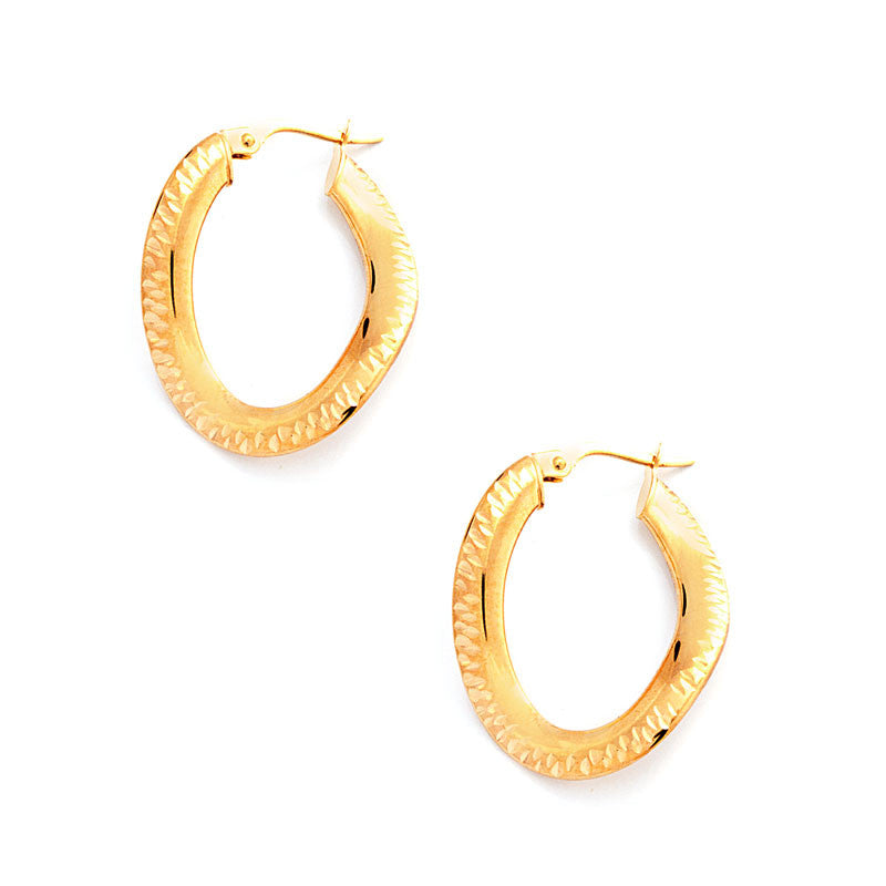 14 Karat Yellow Gold Oval Wave Hoops