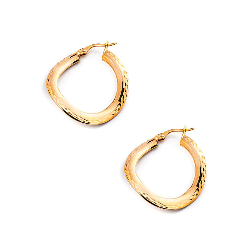14 Karat Yellow Gold Round Wave Hoops