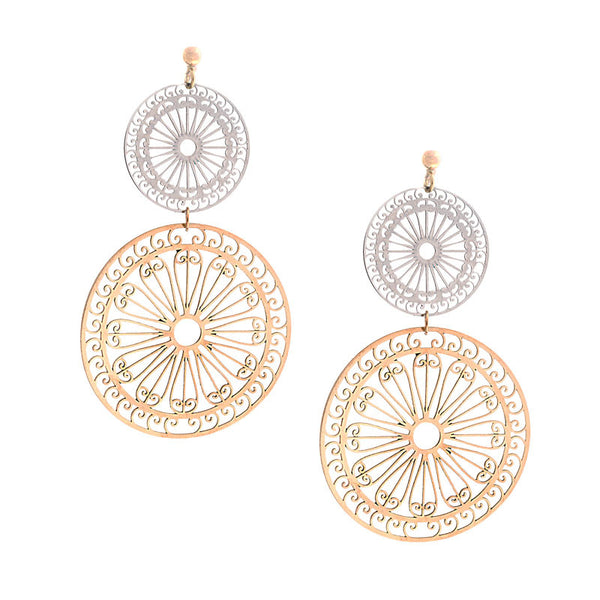 Italian gold sunbeam 2 disc drop earring