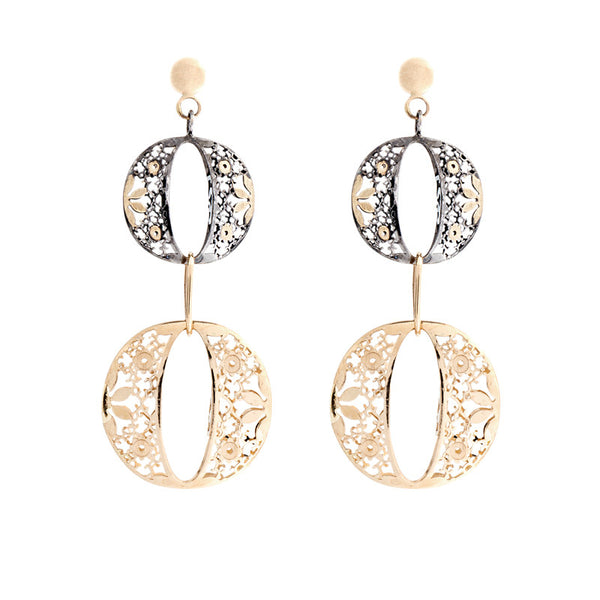 14 Karat Two-Tone Gold Two Round Floral Design Drop Earring
