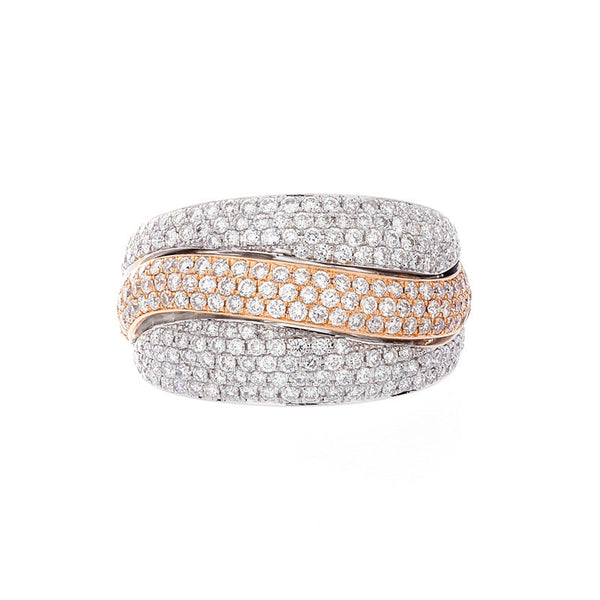 Bellagio Collection Pave Diamond White and Yellow Gold Ring