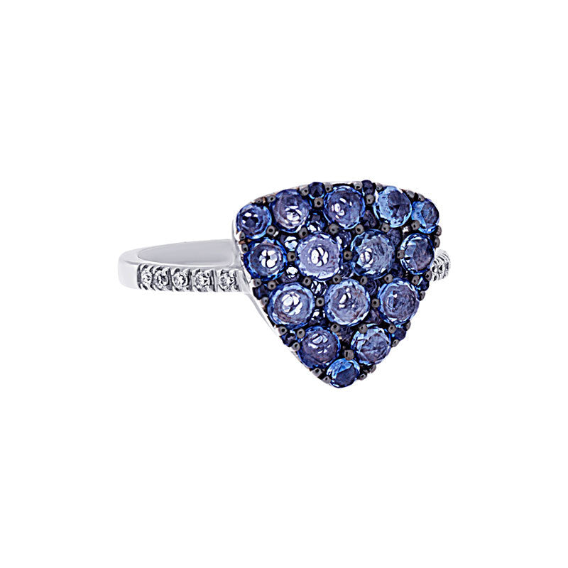 Tremezzo Collection Trillion Shaped Pave Sapphire and Diamond Ring