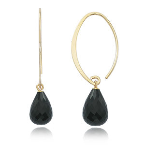 14 Karat Yellow Gold Small Simple Sweep Onyx Earrings