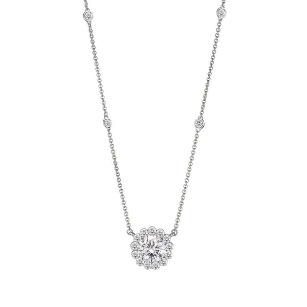 Invisible Collection Forevermark Diamond Halo and Station Necklace, 1.00ctw