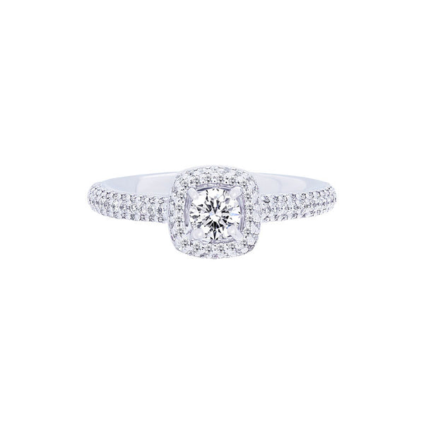 Forevermark Center of My Universe Cushion Pave Halo Engagement Ring, 0.55 total carat