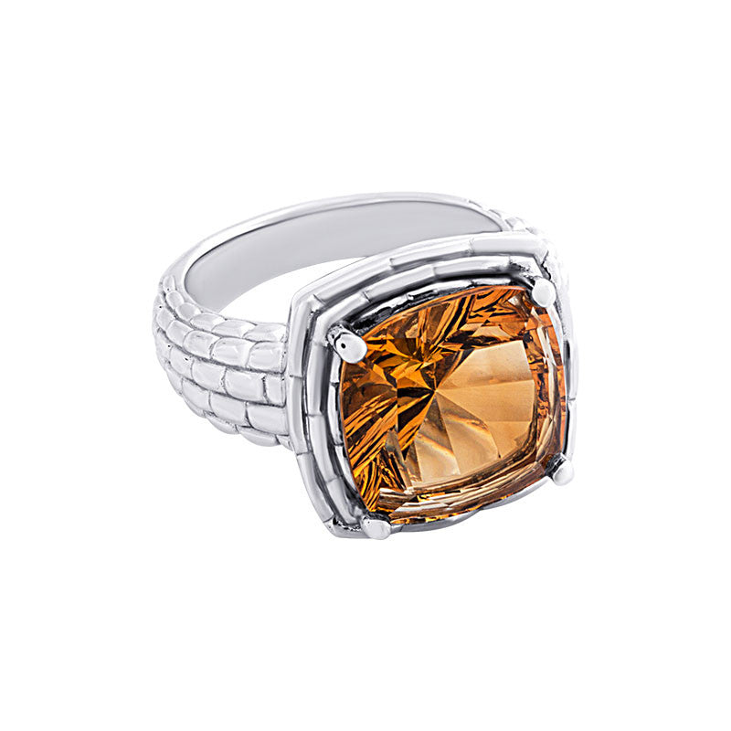 Pietra Collection Citrine Sterling Silver Panther Ring