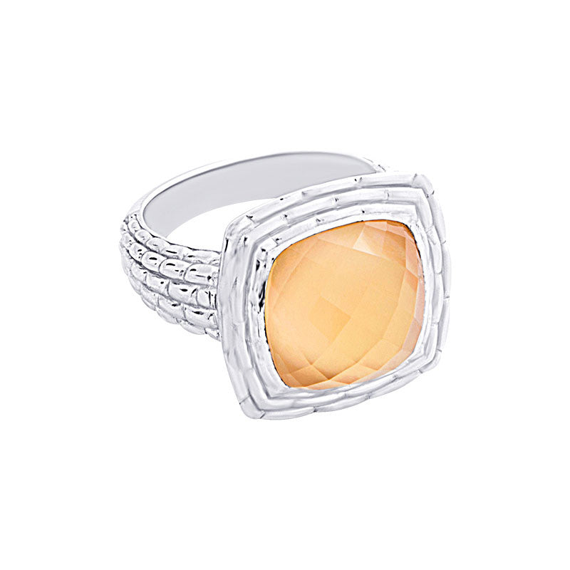 Pietra Collection Citrine and Mother-of-Pearl Cabachon Ring