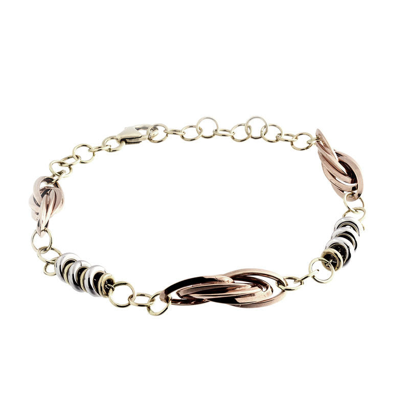 14 Karat Tri-Color Gold Twisted and Round Link Bracelet