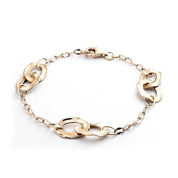 14 Karat Yellow Gold Three Double Loop Station Bracelet.