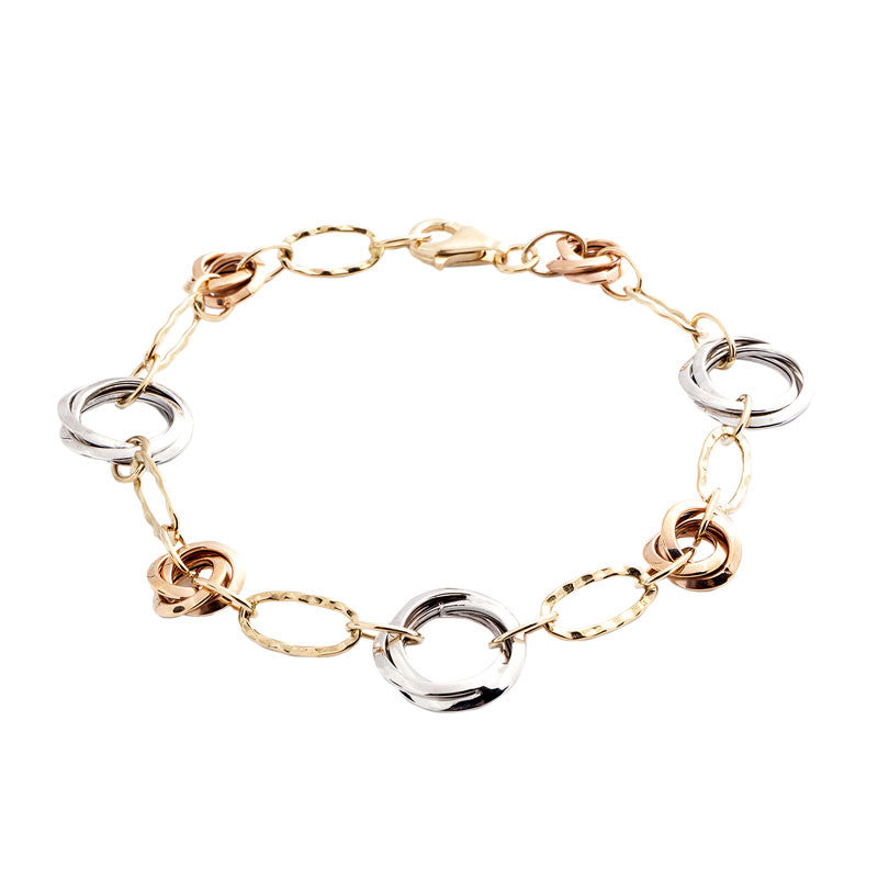 14 Karat Tri-Color Gold Round Twisted Link Bracelet