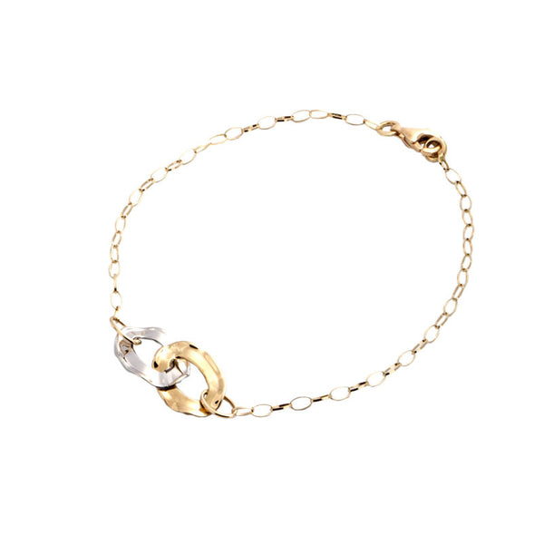 14 Karat Two-Tone Gold Double Link Station Bracelet