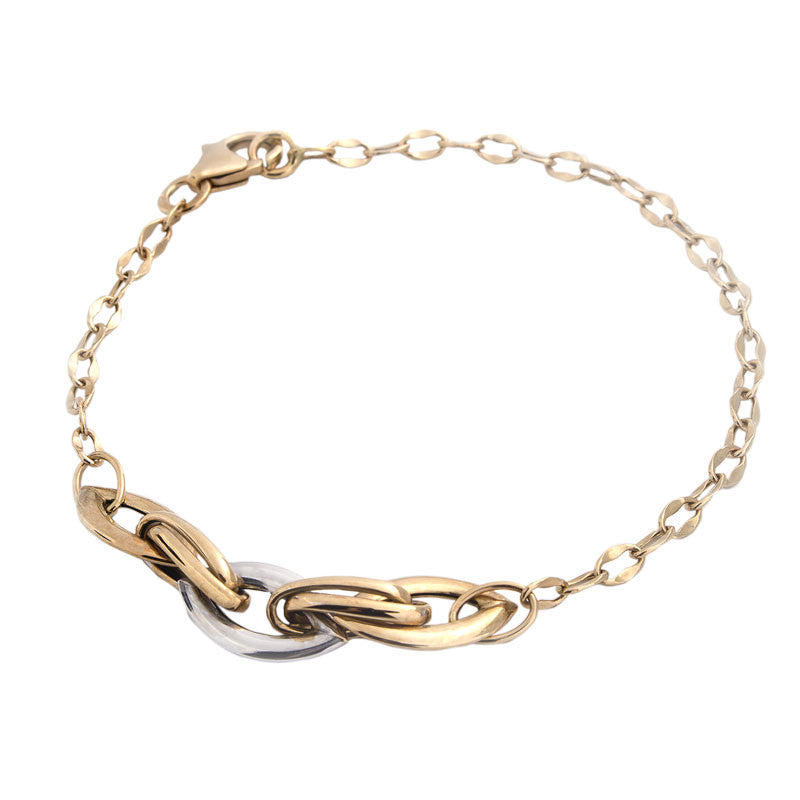14 Karat Two-Tone Gold Marquise and Curved Link Bracelet