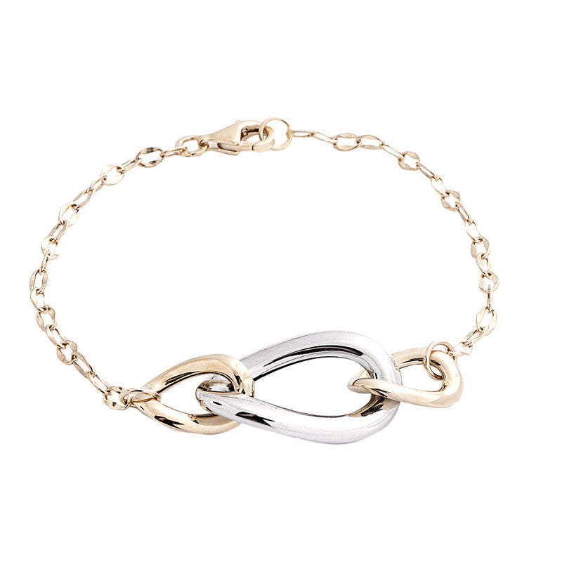 14 Karat Two-Tone Gold Three Curved Oval Link Bracelet