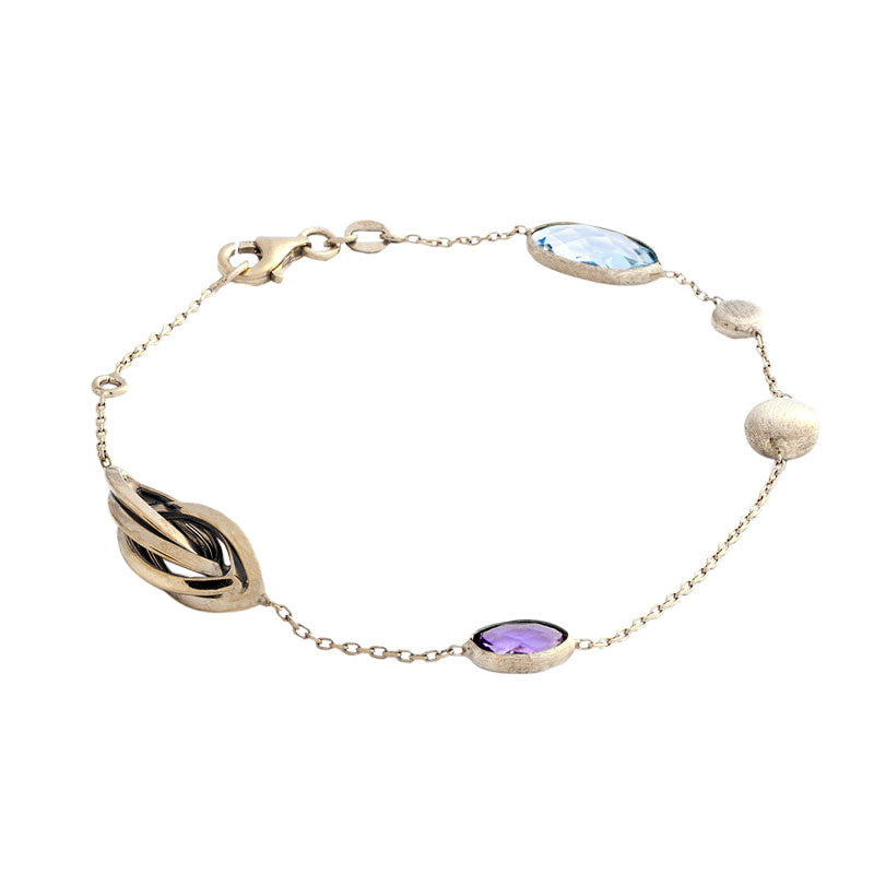Italian gold twisted bead station with blue topaz and amethyst bracelet