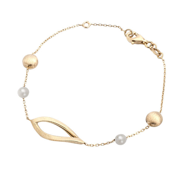 Italian gold freshwater pearl, gold bead and open leaf station bracelet