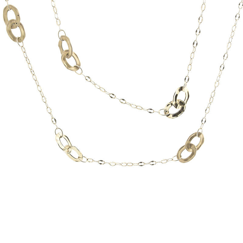 Italian gold double loop station necklace