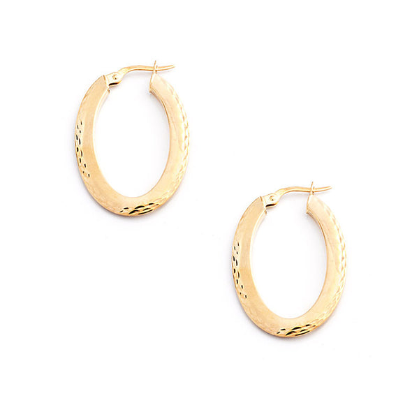 14 Karat Yellow Gold Flat Oval Hoops