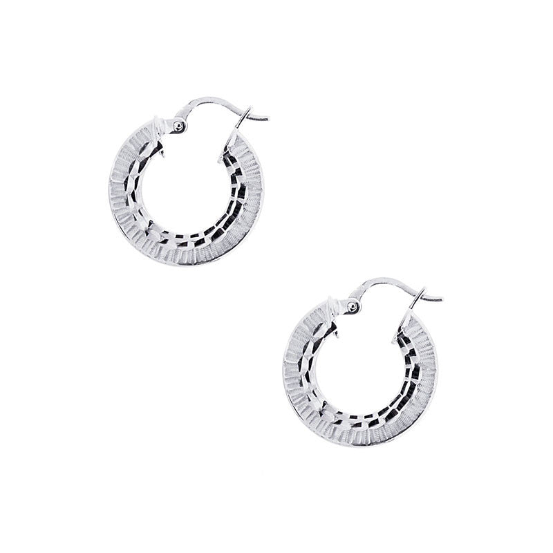 14 Karat White Gold Round Textured Hoops