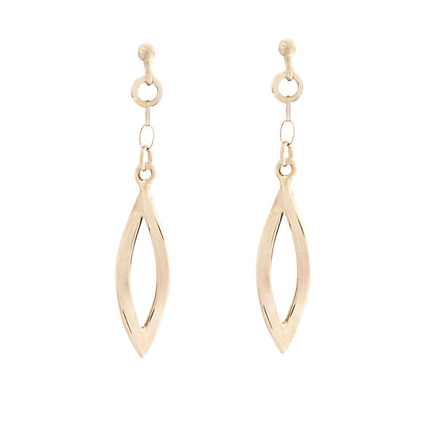 14 Karat Yellow Gold Open Marquise Drop Earring