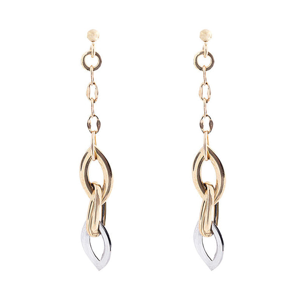 14 Karat Two-Tone Gold Triple Marquise Link Drop Earring