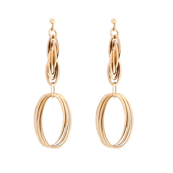 14 Karat Yellow Gold Twisted Oval Link Drop Earring
