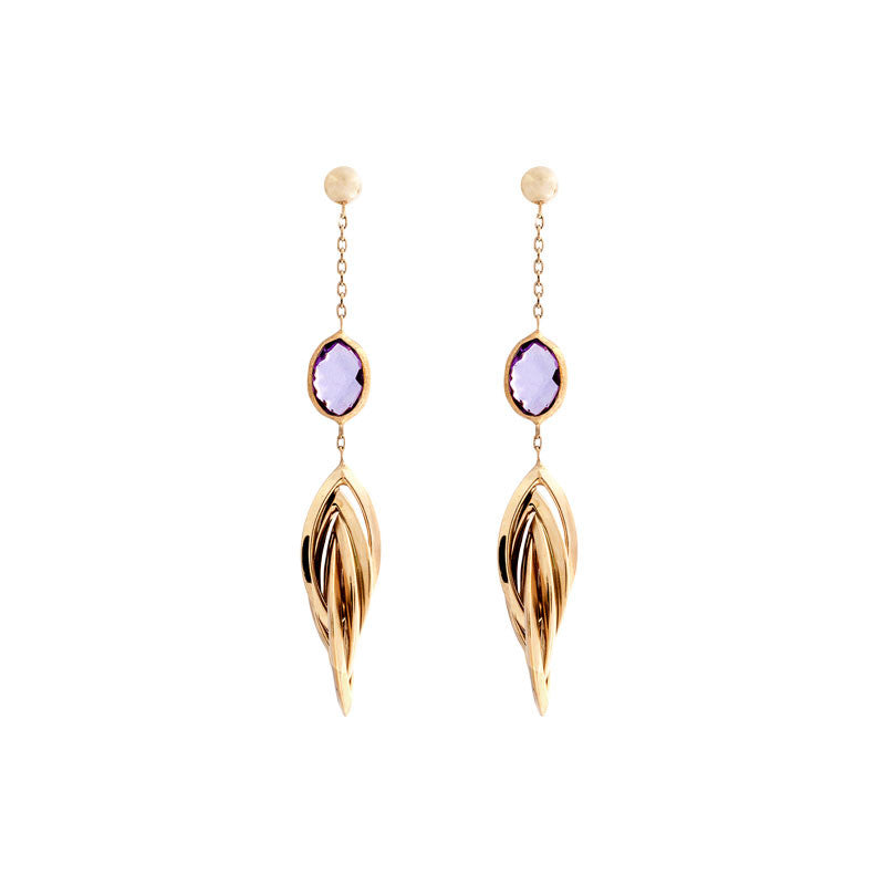 Italian gold amethyst and gold twist link drop earrings