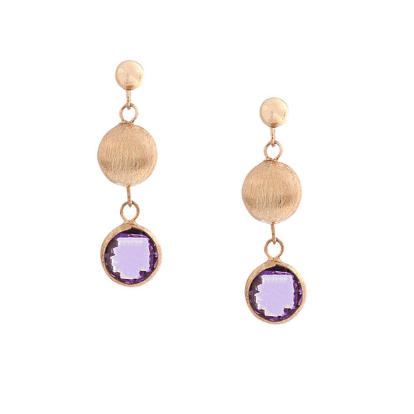Italian gold amethyst and gold drop earrings