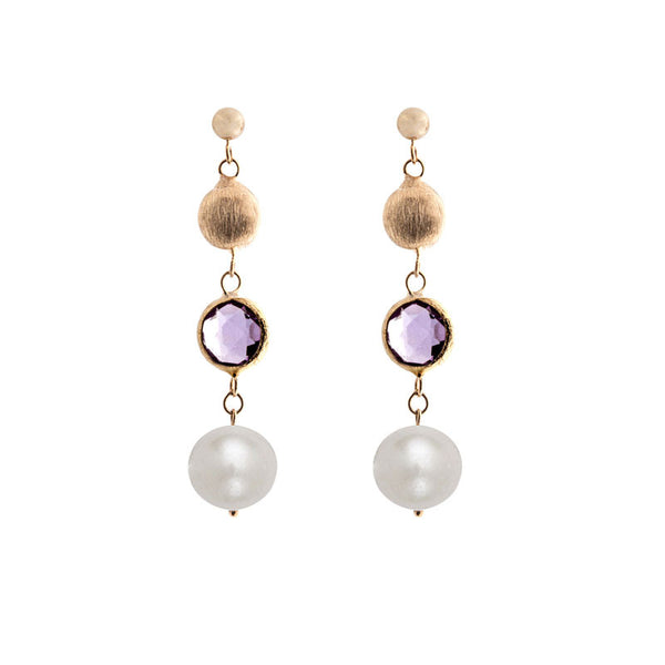 Italian gold freshwater pearl, amethyst and gold bead drop earrings