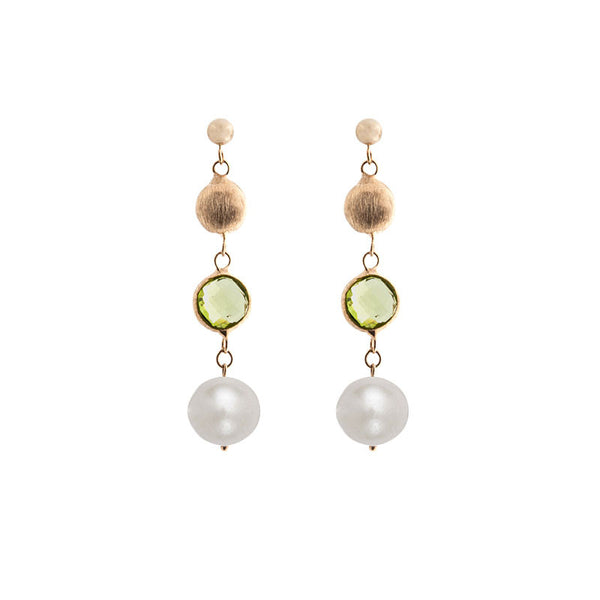 Italian gold freshwater pearl, peridot and gold bead drop earrings