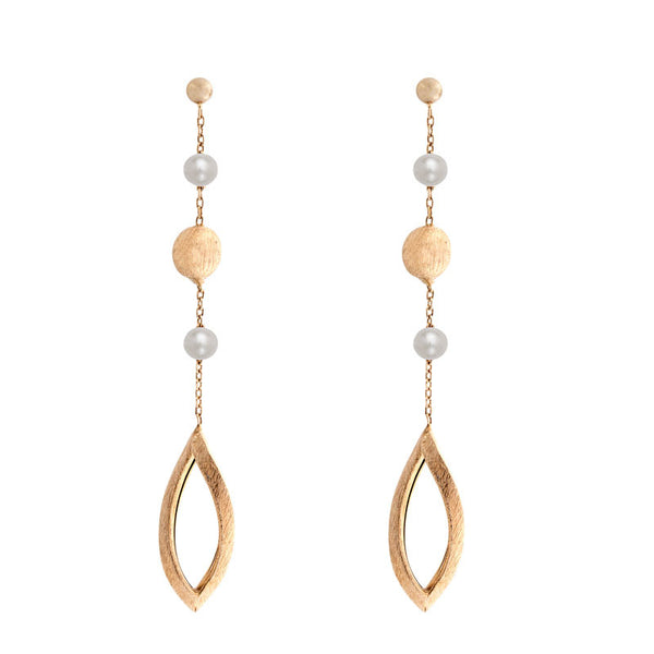 Italian gold freshwater pearl, gold bead and open leaf station earrings