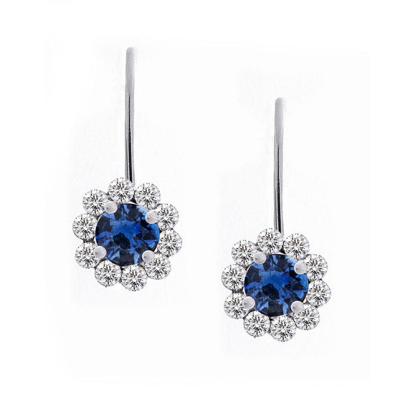 Invisible Set Diamond Halo Leverback Earrings