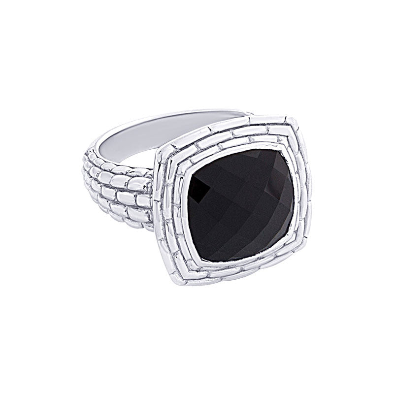 Pietra Collection Black Onyx Panther Ring