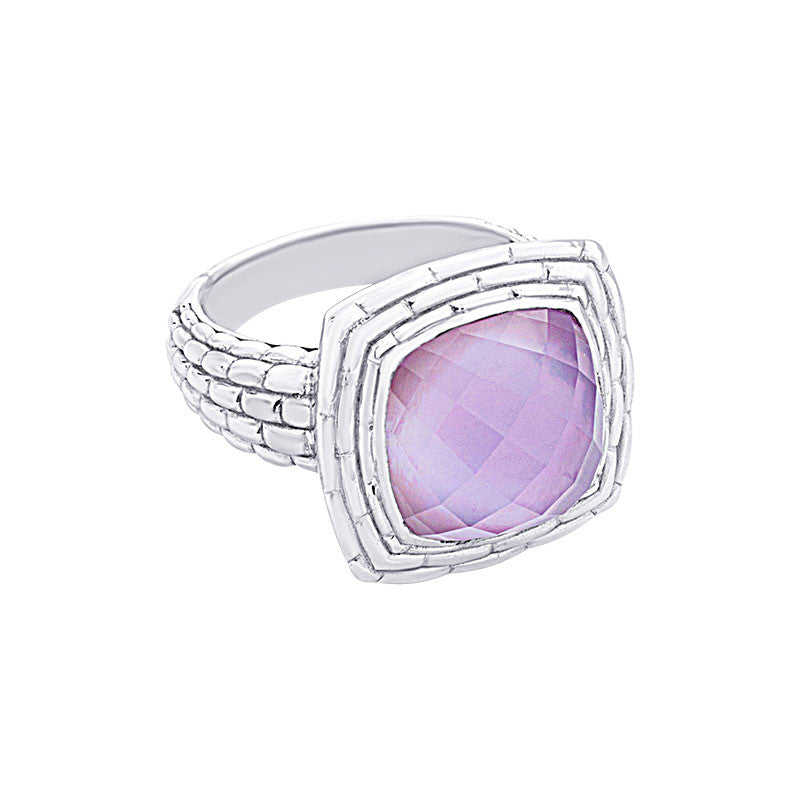 Pietra Collection Amethyst and Mother-of-Pearl Cabachon Ring