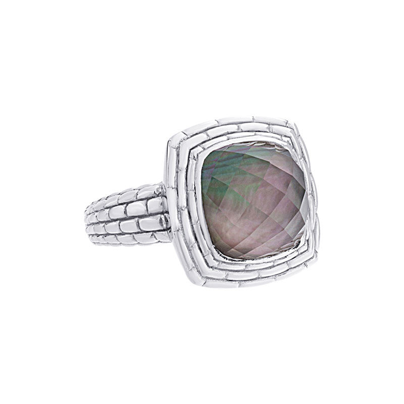 Pietra Collection White Quartz and Black Mother-of-Pearl Cabachon Ring
