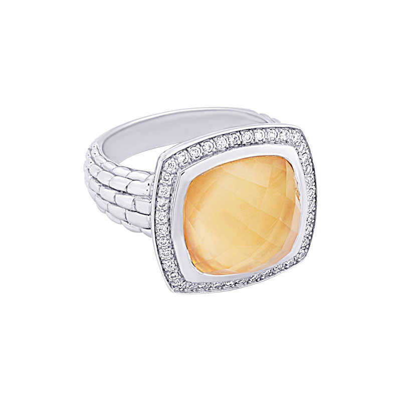Pietra Collection Citrine and Mother-of-Pearl Cabachon Ring with Diamonds