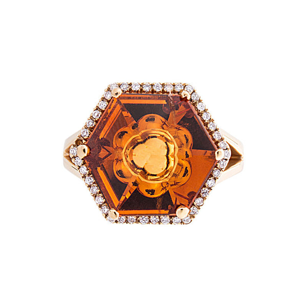 Giardino Collection Tom Munsteiner Hexagon Citrine and Diamond Ring