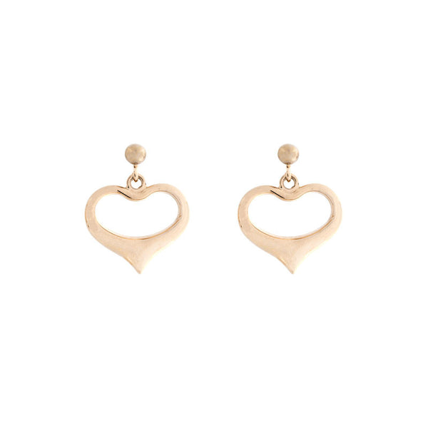 14 Karat Yellow Gold Polished Heart Drop Earrings