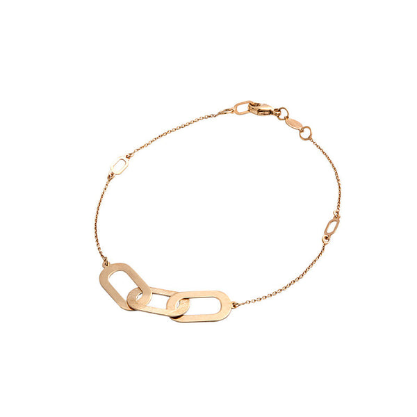 14 Karat Yellow Gold Polished and Brushed Three Station Bracelet