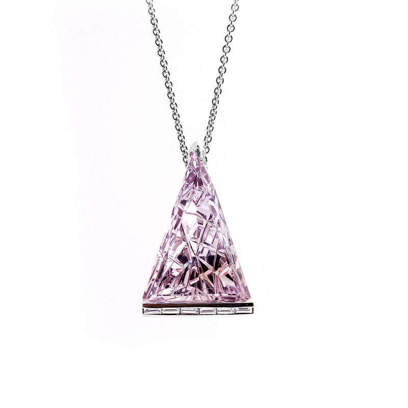 Giardino Collection John Dyer Triangle Amethyst and Diamond Pendant