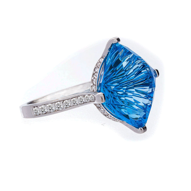 Giardino Collection John Dyer Star Brite Swiss Blue Topaz and Diamond Ring