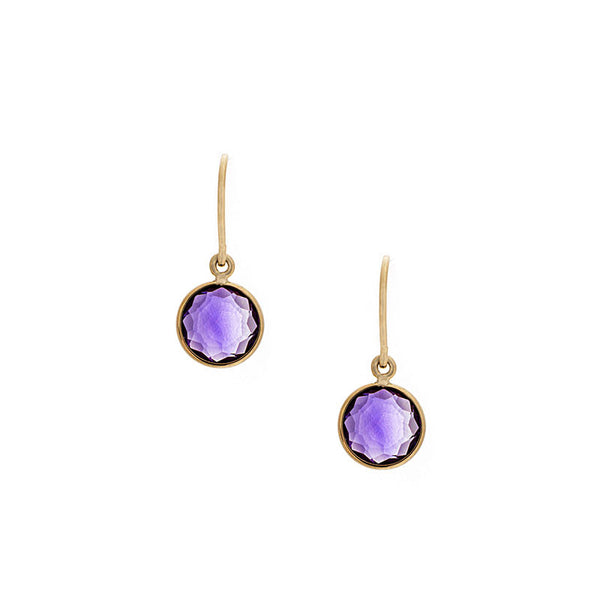 Como Collection 8mm Round Amethyst Earrings