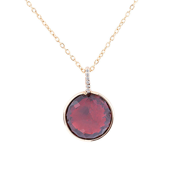Como Collection 12mm Round Garnet with Diamond Pendant