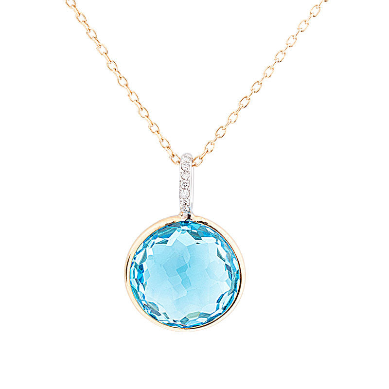 Como Collection 12mm Round Blue Topaz with Diamond Pendant