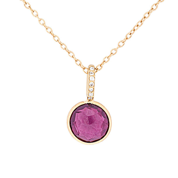 Como Collection 8mm Round Rhodolite-Garnet with Diamond Pendant
