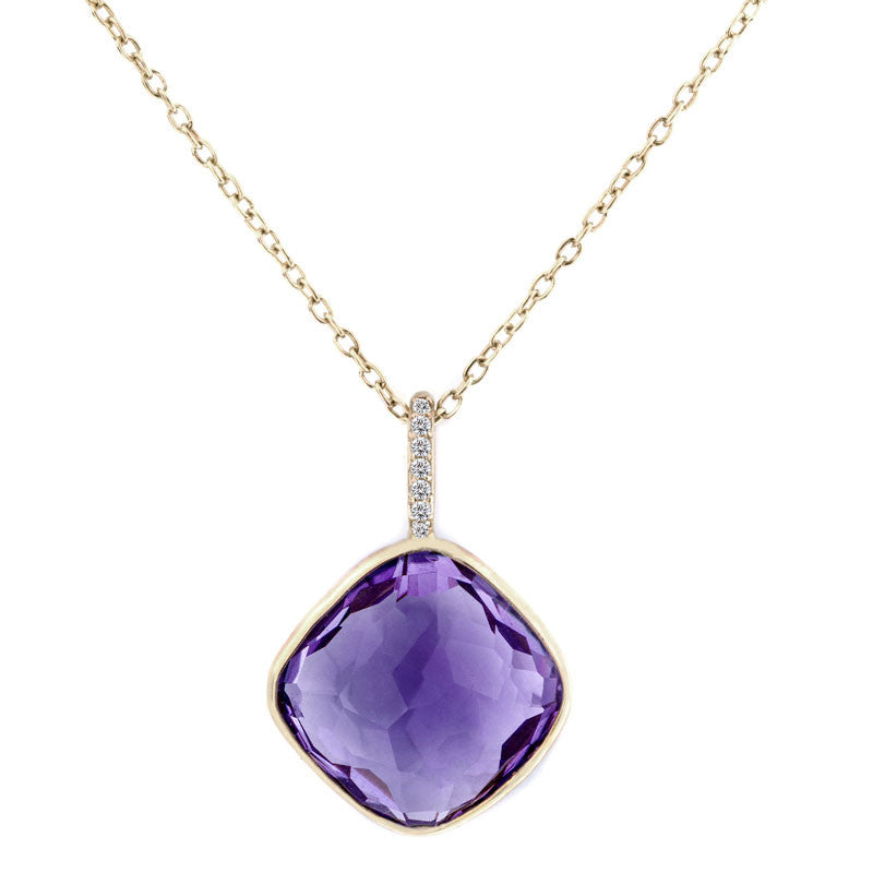 Como Collection 12mm Cushion Amethyst with Diamond Pendant